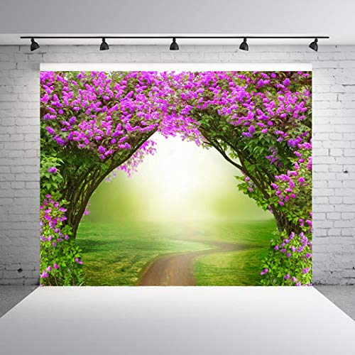 Dudaacvt 7x5ft Fantasy Background Fairytale Magical Forest Dreamlike Magic Forest with Road Beautiful Spring Landscape Pink Flowers Background Thanksgiving Background -