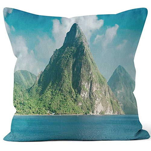 Nine City View of The Famous Piton Mountains in St Lucia Throw Pillow Cushion Cover,HD Printing Decorative Square Accent Pillow Case,16