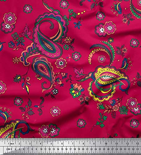 - Soimoi Pink Cotton Voile Fabric Floral & Paisley Print Fabric by The Yard 42 Inch Wide