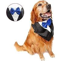 DogLemi Dogs Bowtie Tuxedo Neckwear Holloween Scarf Pet Dress-up Costumes Cosplay Accessories Blue