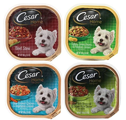 Cesar Home Delights Dog Food 4 Flavor 8 Can Bundle: (2) Beef Stew, (2) Turkey, Green Beans & Potatoes, (2) Slow Cooked Chicken & Vegetables, & (2) Beef Broccoli & Brown Rice, 3.5 Oz. Ea.