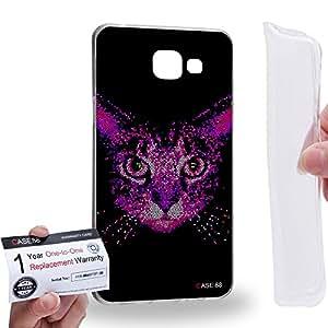 Case88 [Samsung Galaxy A5 (2016)] Gel TPU Carcasa/Funda & Tarjeta de garantía - Art Aztec Design Yellow Cat Animal Faces Art1279