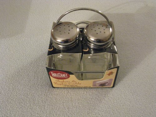 Tablecraft Chrome Salt and Pepper Shakers and Napkin Caddy by Tablecraft