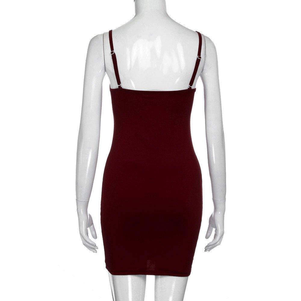 iLUGU O-Neck Sleeveless Mini Dress For Women Bodycon Package Hip Backless Pencil Dress Navy Dress by iLUGU (Image #4)