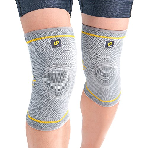 with Stabilizers - Compression Patella Support for Arthritis, Tendinitis Pain Relief & Athletic Injury Recovery, Fulcrum KE91 (1 Pair), Gray, Medium ()