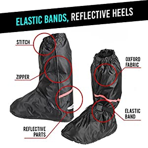 Waterproof Anti-Slip Motorcycle Bike Rain Boot Shoes Cover size Men 8.5-9.5 Women 10-11 with Sturdy Zippered Elastic Bands Reflective Heels and Red Line, Black