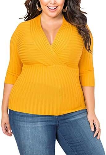 Lalagen Women's Knit 3/4 Sleeve V Neck Slim Fit Plus Size Bodycon Blouse Top