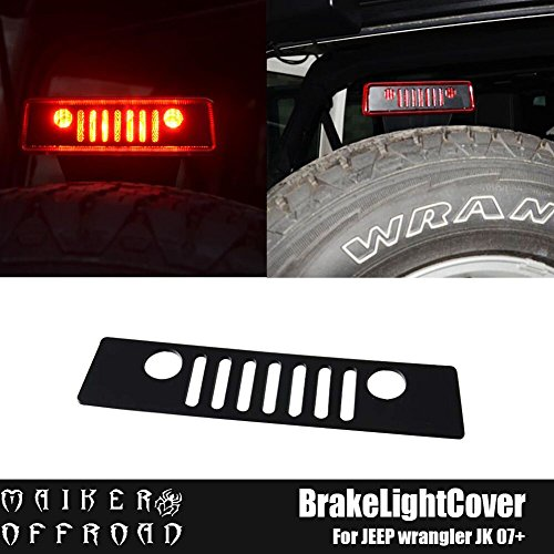 MAIKER Balck Jeep Wrangler Third Brake Light Cover for 2007 - 2017 Jeep Wrangler Unlimited JK JKU Rubicon Sahara Sport X S