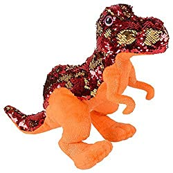 "Reversible Mermaid Sequins T-Rex Dinosaur 15"" Plush"