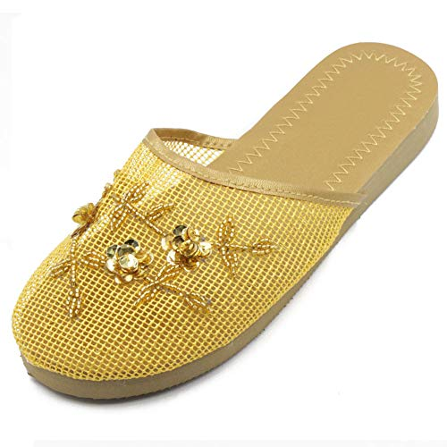 Cammie Women's Floral Beaded Mesh Gold Chinese Slippers 9 B(M) ()