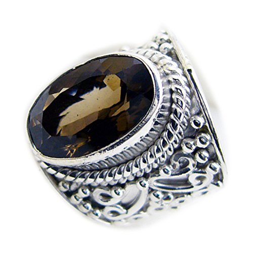 Jewelryonclick Real Smoky Quartz Ring For Her Oval Bezel-setting Silver Jewelry Available in Size 4-12 (Smoky Faceted Oval Ring Quartz)