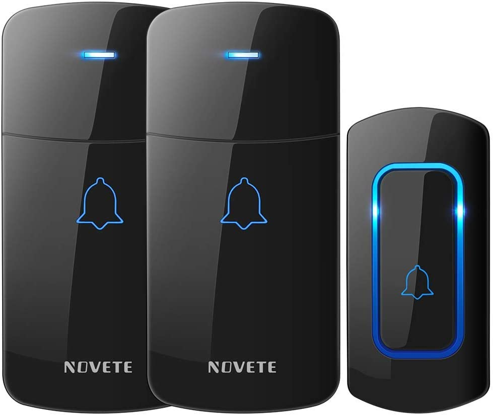 Wireless Doorbell, NOVETE Expandable 52 Chime Door Bell Kit Over 1300ft Operating Range