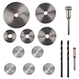 PROMMON 5Pcs HSS Saw Blades Rotary Tool Circular Saw Blade Mandrel & 5Pcs Stainless Steel Wood Cutting Wheel Saw Blade Discs & 2Pcs 3mm Twist Drill Bit For Prommon Dremel Rotary Tools Pack Of 12Pcs