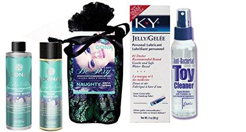 Bundle Package Of DONA Be Sexy Gift Set - Naughty And Anti-bacterial Toy Cleaner 4.3oz. And a K-Y Jelly 2oz. Tube by United Consortium