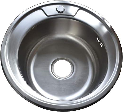 WPK0491 /Évier encastrable en acier inoxydable 304 rond avec bonde d/écoulement 49 cm