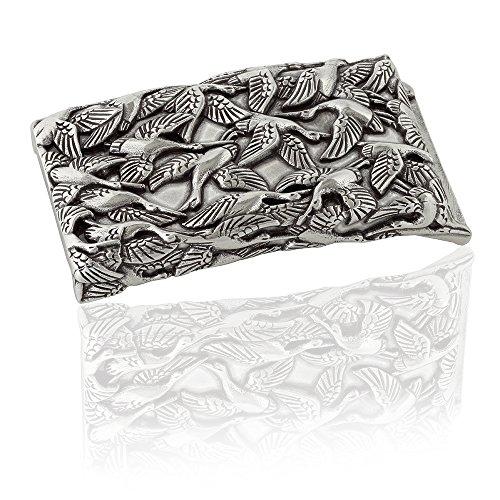FREDERIC HERMANO Gürtelschnalle Buckle 40mm Metall Silber Geschwärzt - Buckle Crane - Dornschliesse Für Gürtel Mit 4cm Breite - Silberfarben Geschwärzt