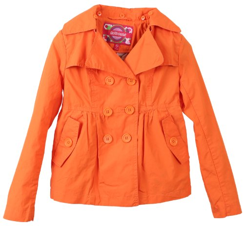 Dollhouse Girls Cotton Trench Spring Jacket with Removable Hood - Orange (Size 14) (Thumbs Up Rain Boots compare prices)