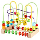 Bead Maze Toy for Toddlers Wooden Colorful Roller Coaster Educational Circle Toys for Kids Sliding Beads On Twists Wire Training Child Attention Count and Grasping Ability (QZM-0135-Toys)