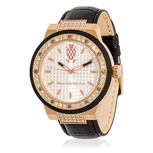 Monte Carlo Watch Leather (Monte-Carlo Polo Club Mens Classic Quartz Watch with Silver Dial and Black Croco Leather Strap)
