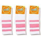 Socco Socks Unisex White Triple Striped Pink Crew Tube Socks Bundle of 3 Pairs - Small / Medium (6-9)