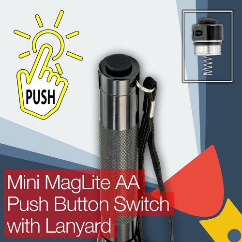 Push Button Tail Cap - Mini MagLite AA Torch/flashlight Push Button (clicky) End/Tail Cap Switch
