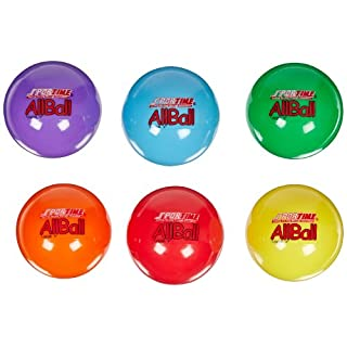 Sportime Multi-Purpose Inflatable All-Balls, 4 Inches, Set of 6, Assorted Colors - 020502