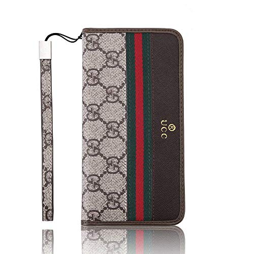 iPhone 7 Plus/8 Plus Wallet Case, New Elegant Luxury PU Leather Monogram Wallet Style Flip Cover Case with Card Cash Compatible Apple iPhone 7Plus and iPhone 8Plus (Brown GG)