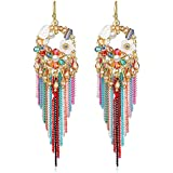 Jewels Galaxy Luxuria Limited Edition Floral Design Magnificent Gold Plated Chain Drop Onyx Earrings For Women/Girls