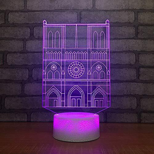 Fsewfs night light 7 Colores, Regalo Visual, 3D, Iluminación Led Usb, Construcción De Villa, Modelado, Lámpara De...