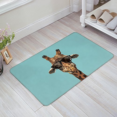 Cool Giraffe Doormats Funny Animal with Sunglasses Floor Mats Rugs Non-slip Backing for Home Office Kids Bedroom - Export Sunglasses