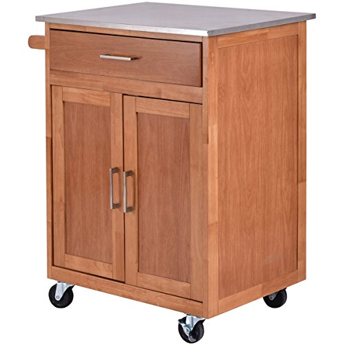 Enclosed Utility Cart - Giantex Wood Kitchen Trolley Cart Stainless Steel Top Rolling Storage Cabinet Island