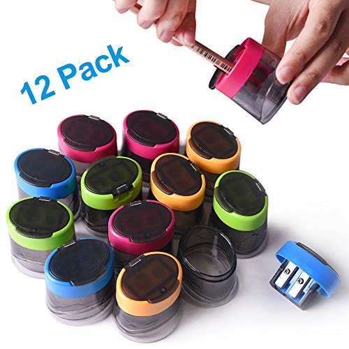 Pencil Sharpener, 12pcs Double Hole Manual Sharpener for Pencils, Colored Hand Pencil Sharpener with Rust-proof Spiral Blade for Kids School Office Home Supply