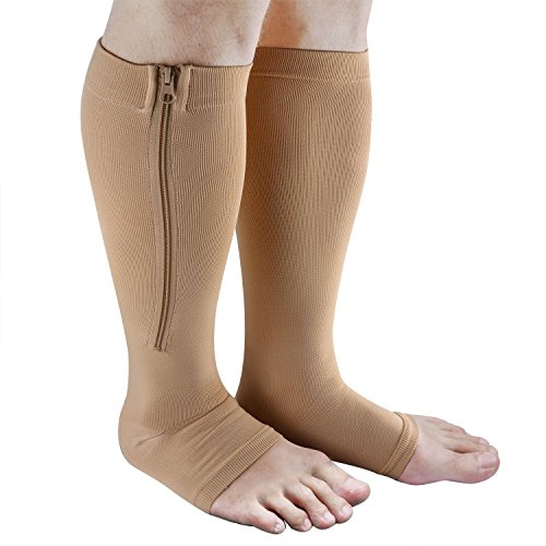 Zipper Compression Socks, Aniwon Open Toe Compression Socks Calf Leg Support Hose Stocking (Leg Zipper)