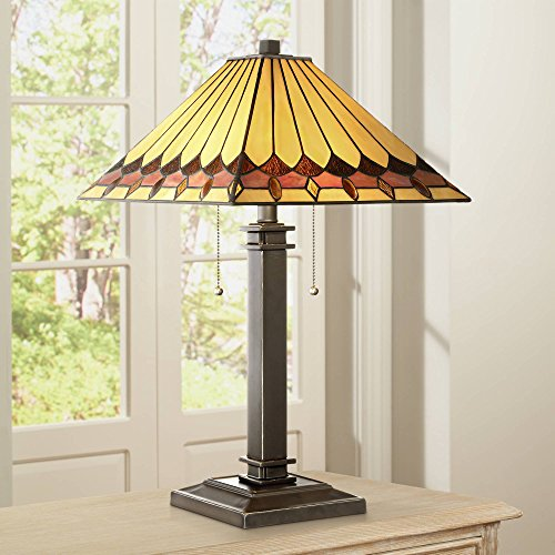 Gerard Mission Accent Table Lamp Bronze Amber Art Glass Shade for Living Room Family Bedroom Bedside Office - Robert Louis Tiffany