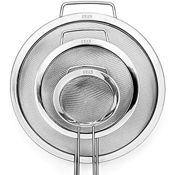 GRAN 3 Piece Stainless Steel Fine Mesh Strainer Set