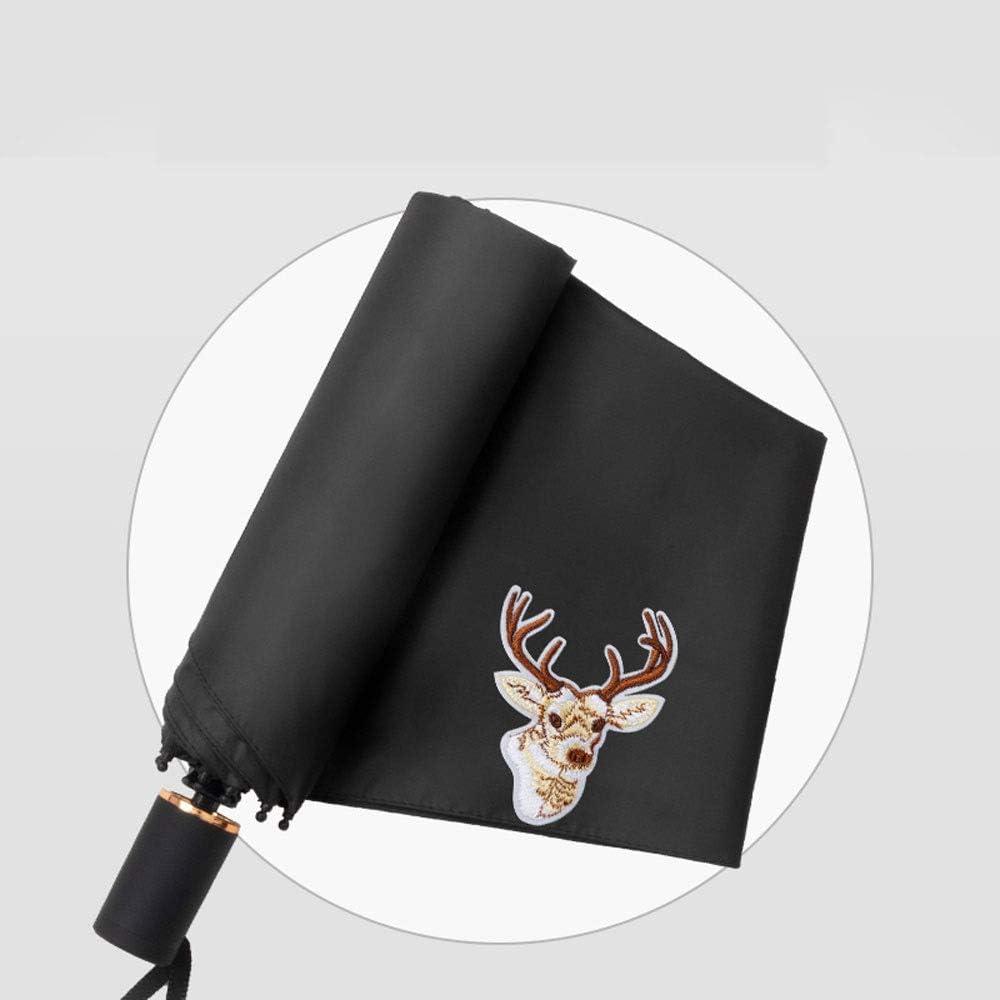 Yifuty Elk Patrón 340g Manual Automático sombrilla Mujer Hombre verano a prueba de viento impermeable paraguas plegable de protección solar del día soleado día de lluvia son Disponible Negro