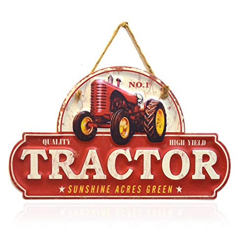 PEI's Retro Vintage Embossed Tractor Metal Tin Sign, Wall Hanging Decor for Home, Garage, Man Cave, Diner, Cafe, 7 x12 inch / 18x30cm