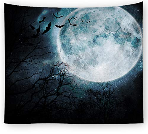 Oyeahbridal Black Forest Tapestry Scary Vampire Bat Tapestries Full Moon Wall Hanging Throw Bedroom Living Room Dorm Art - Bat Vampire Hanging