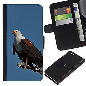 LASTONE PHONE CASE / Lujo Billetera de Cuero Caso del tirón Titular de la tarjeta Flip Carcasa Funda para Apple Iphone 6 4.7 / eagle blue bird feathers black American