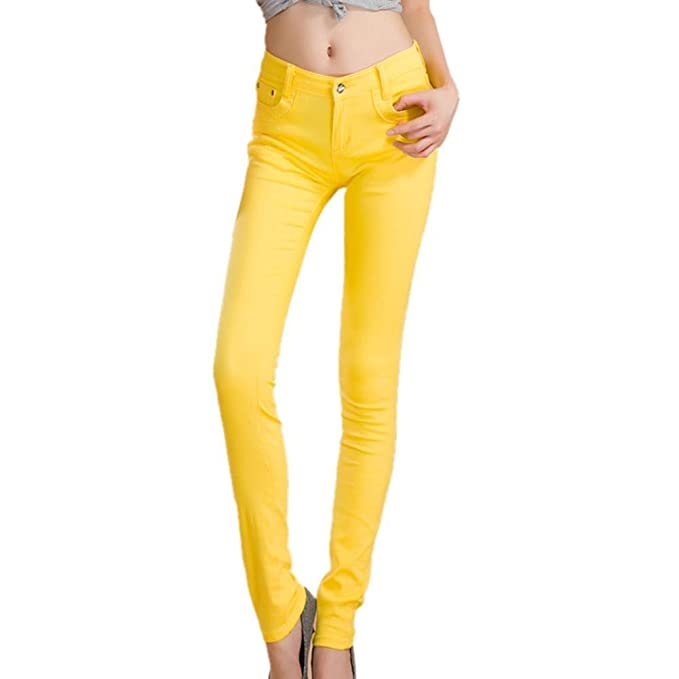 8910b04d854 SODIAL(R) Summer Yellow Fashion Female Stretch Candy Colored Pencil ...