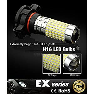 JDM ASTAR 1200 Lumens Extremely Bright 144-EX Chipsets 5202 5201 LED Fog Light Bulbs with Projector for DRL or Fog Lights, Xenon White