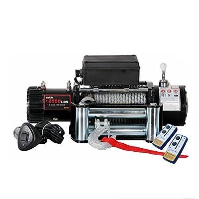 X-Bull 12V Recovery Winch Wireless Remote Trailer Truck SUV Jeep Electric - 12000 lb. Load Capacity