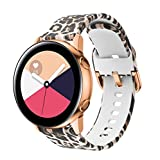 GOSETH Compatible with Samsung Galaxy Watch Active (40mm)/Active2 Bands, Silicone Wrist Strap Replacement Buckle Band for Galaxy Watch Active (Leopard Brown)