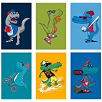 Set of 6, 11x17 inches, Dinosaur Poster Perfect for Kid's...