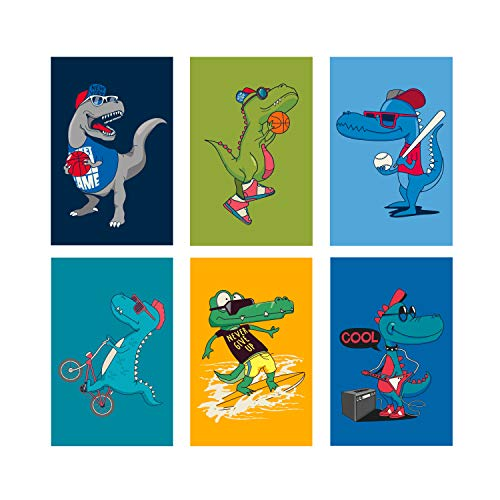 - Set of 6, 11x17 inches, Dinosaur Poster Perfect for Kid's Room Decor | Dinosaur Wall Decals For Boys Room | Dinosaurs Posters Perfect As Kids Bedroom Or Baby Nursery Art Wall Prints Decorations