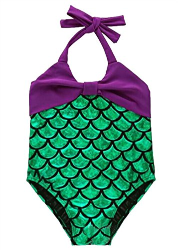 [Girls Bowknot Mermaid Pool Party Wearing Beach Swimwear Swimsuit Party Dress-up Purple&Green 6T] (Swimming Pool Halloween Costume)