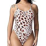 e89e05f27de6e Copercn Women's Sexy Leopard Grain One Piece Strappy Monokini Swimsuit  Cheeky Backless Swimwear Beachwear Bikini Brown