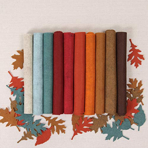 Wool Felt, Harvest Moon Fall Colors, 10 Sheets Autumn Wool Blend Felt (10 12x18
