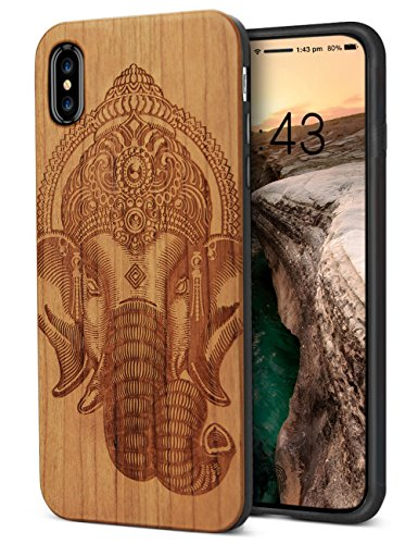 for iPhone X Case Wood ,Cool Natural Wooden Engraving Elephant Design Flexible Rubber Cushion Anti-Scratch Drop Proof Hybrid Protective Bumper Case for iPhone X/Xs