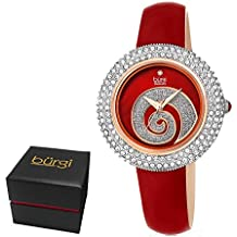Burgi Women's BUR209RD Swarovski Crystal Diamond Accented Sparkle Swirl Mother of Pearl Imperial Red Leather Strap Watch - Packed in a Beautiful Gift Box, Perfect for Mothers Day -